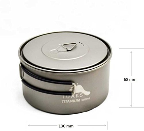 TOAKS 900ML Titanium cooking-Pot with bail-lid ultra-light sports design cookware, healthy and ECO environmentally friendly, portable picnic kitchen appliance for Outdoor Camping & Family Car-Travel, 102g, POT-900-D130