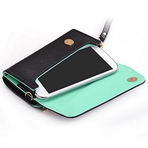 Kroo d'embrayage portefeuille avec dragonne et sangle bandoulière pour Huawei Ascend P1U9200() Multicolore - Black and Purple Multicolore - Black and Green