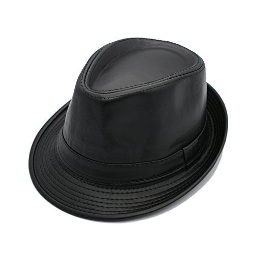 JEDAGX Herren Damen Neutral PU Leder flachen Hut, schwarzer Gürtel, alle Jahreszeiten Sun Jazz, 58cm (Herren-leder-hüte)
