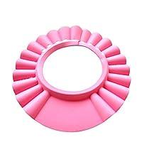 قبعة استحمام مرنة واقعية للعين من الشامبو مضادة للماء وقابلة للتعديل متوفرة للاطفال من عمر الولادة وحتى 9 سنوات (بلون زهري)