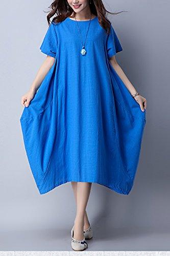Le Donne In Boemia Collo Con Pockest Irregolare Solido Midi Tunica Vestito Blue