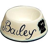 CERAMICHE D'ARTE PARRINI- Ceramica italiana artistica , ciotola per cane personalizzata , fatta a mano made in ITALY Toscana