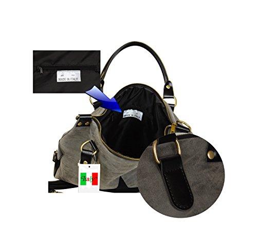 Smartland Damen Stern Designer Tasche, made in Italy, Frauen Fashion Bag Schultertasche aus hochwertigen Lederimmitat, IT7601 Braun