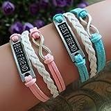 NUOLUX 2ST Armband für besten Freund PU Zieharmband Wirstband (rosa + blau)