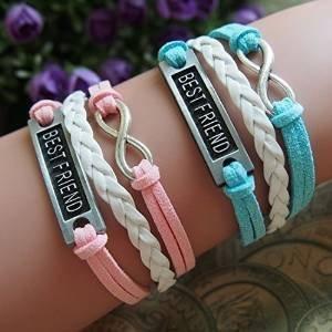 *NUOLUX 2ST Armband für besten Freund PU Zieharmband Wirstband (rosa + blau)*