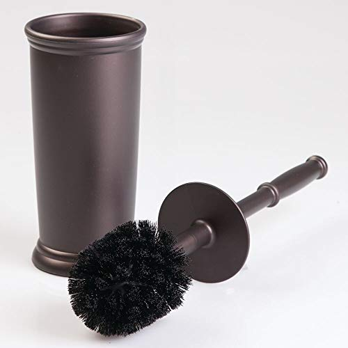 mDesign Toilettenbürste mit WC Bürstenhalter - hochwertige WC Bürstengarnitur in bronze bestehend aus Klobürste und Halter