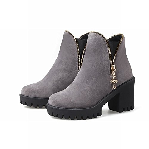 Mee Shoes Damen chunky heels Plateau runde Gummiband Ankle Boots Grau