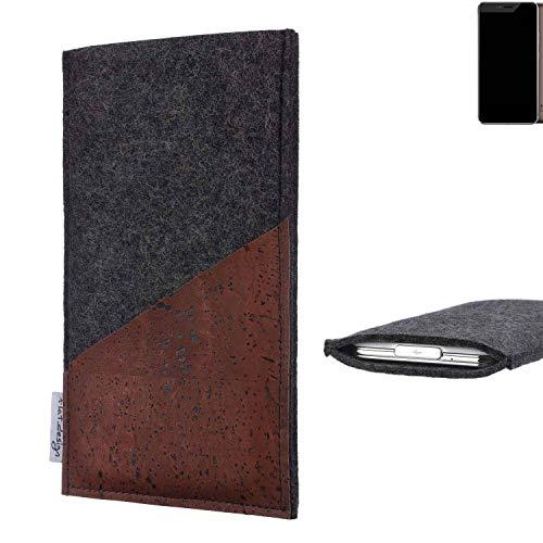 flat.design Handy Hülle Evora für Allview X4 Xtreme handgefertigte Handytasche Kork Filz Tasche Case fair dunkelgrau