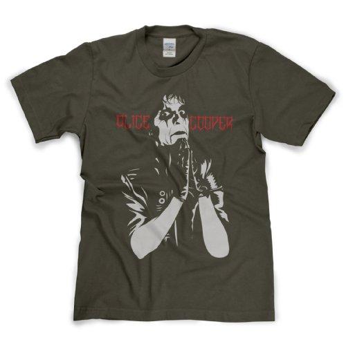 Alice Cooper Classic Rock Musik Legends Retro-T-Shirt Militär-Grün