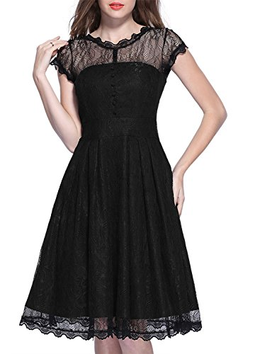 62f1fbb32766 MIUSOL Donna Pizzo Vestito Lunghe Vintage 1950 s Cerimonia Lungo Abito Da  Sera