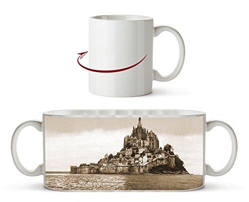 Küste von Mont St Michel Effekt: Sepia als Motivetasse 300ml, aus Keramik weiß, wunderbar als Geschenkidee oder ihre neue Lieblingstasse.