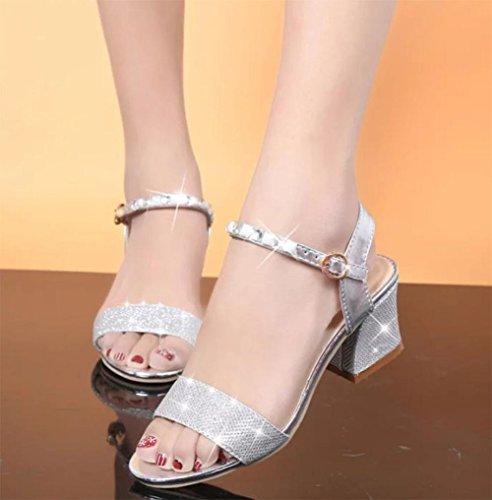 Sommer Sandalen vorne offen Schuhe mit hohen Absätzen mit dem Wort Schnalle dick mit Strass-Sandalen Frauen Silver