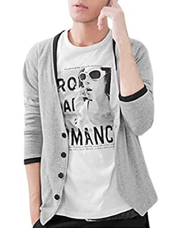 sourcingmap® NEW Stylish Men V Neck Buttons Closure Casual Knitwear Cardigan Coat