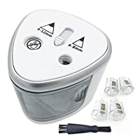 Electric Pencil Sharpener 2 Holes Heavy Duty, Lifetime Replacement Guarantee, Automatic Desk Pencil Sharpener for Kids, Battery Powered