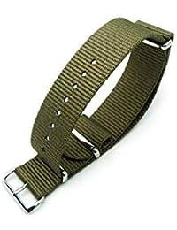 G10 Nato Nylon Watch Strap,Military Green, (16,18,20,22 & 24mm width's) (18mm)