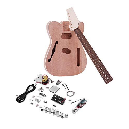 Festnight Unvollendete Elektrische Gitarre DIY Kit für TL Tele Style Gitarre, Gitarre Werkzeug Griffbrett Pickup Mahagoni Hals Gitarre Körper mit F-Soundhole - F Werkzeuge