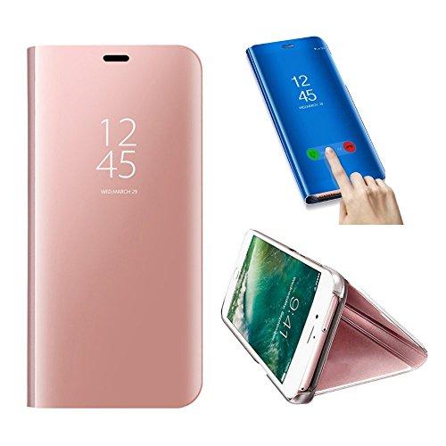 SevenPanda Handyhülle Metall Für Huawei P8 Lite 2017, Hua Wei P8 Lite 2017 Hülle Spiegel, Flip Stand Luxus Mirror Handytasche Intelligente Schlaf/Wach Book PC Hart Schale Abdeckung - Rosa