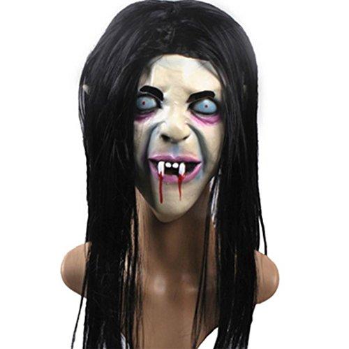 DZW Halloween Terror Hexe Maske Groll Sadako Geister Maske Terror Hedging Maske Schwarzes Haar Zombie Maske High qualityModellierung (Kostüme Groll Der)