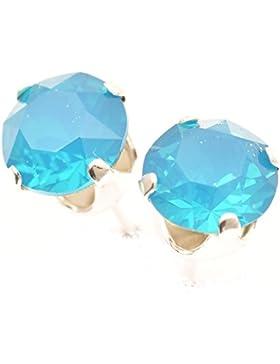 925-Sterling Ohrstecker handgefertigt mit Caribbean Blue Opal Kristall aus SWAROVSKI®.