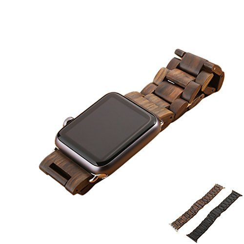 Sumgar Natur Holz Replacement Wrist Band mit Adapter Uhrenarmband für Apple iWatch Alle Modelle 38mm - Ebenholz