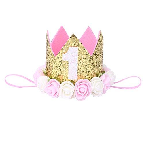 y Haarband Stirnbänder Blumen Krone für 1 Jahre Geburtstag Prinzessin Haarschmuck Gold 1 jahr mit Blumen One Size (Mädchen Blume Kostüme)