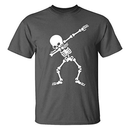 Lazzboy uomo camicetta sportiva o-collo manica corta con stampa a scheletro umano(m,grigio)