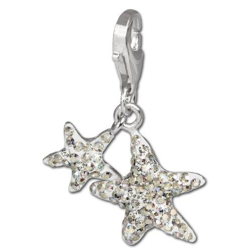 SilberDream Glitzer Charm Seesterne weiß Swarovski Elements Aurora Anhänger 925 Silber für Bettelarmbänder Kette Ohrring GSC102