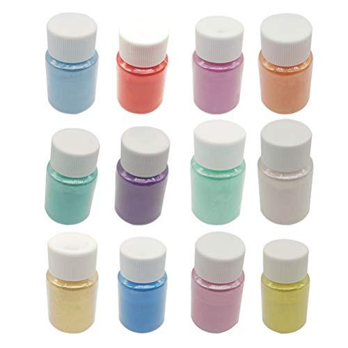 SUPVOX 12Pcs Mica Powder Natural Pigment Set for Soap Making Nail Art 10g/Bottle