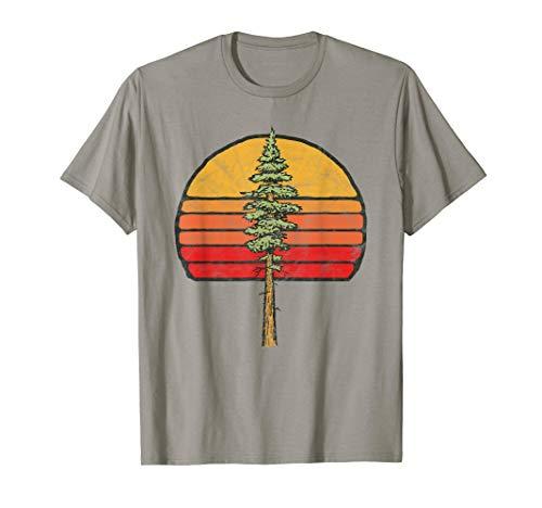 Retro Sun & Lone Minimalist Redwood Tree Graphic  T-Shirt - Tree Hugger Gelben T-shirt