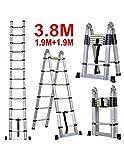Grandmaster - Escalera Telescopica de Aluminio 3,8M Multiuso Multifuncional Plegable - DLT706B