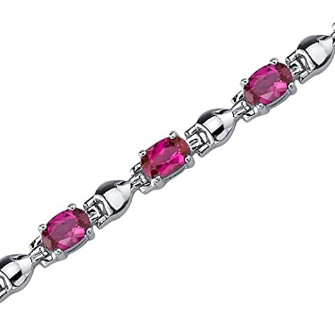Revoni Exquisite Classic: Oval Shape Ruby Gemstone Bracelet in Sterling Silver