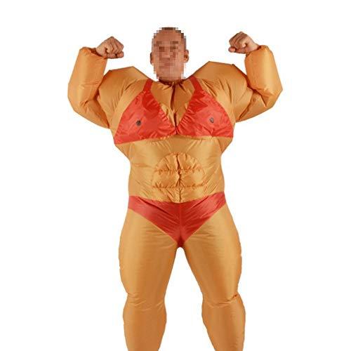 Mann Muskel Baby Kostüm - Erwachsener kreativer Muskel-Mann Halloweens aufblasbare Kleidungs-Maskerade-lustige Party-Mall-Leistungs-aufblasbare jährliche Versammlungs-Elternteil-Stützen ( Color : Yellow , Size : 150-190cm )