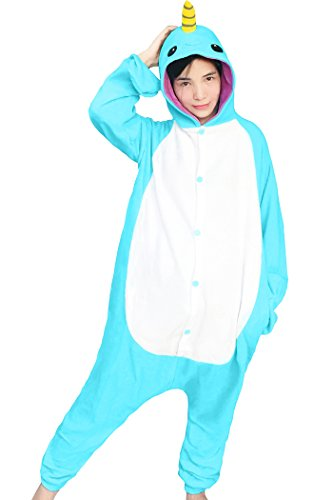 dressfan Unisex Tier Cosplay Kostüm Narwhal Pyjamas Erwachsene Kinder