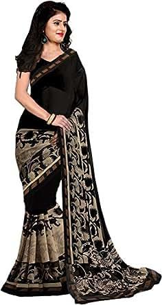 Trendz Women's Cotton Silk Saree With Blouse Piece (Tz_Black_Beauty_Black)