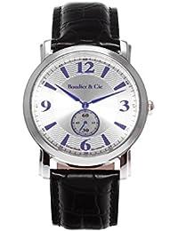 Boudier & Cie BSSM206 - Reloj de Cuarzo Analogico con movimiento Suizo para hombre, Esfera plateada, Correa de Cuero negro