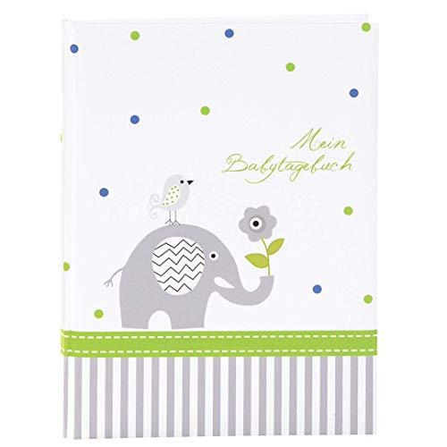 Goldbuch Babytagebuch, Babyworld Wal, 21 x 28 cm, 44 illustrierte Seiten mit Pergamin-Trennblättern, Kunstdruck laminiert, Weiß/Blau, 11329