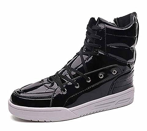 Hommes Chaussures À Chaussures Respirantes Hi-Top 2017 Automne Nouveaux Chaussures Plates Décontractées Chaussures De Skate De Personnalité De La Mode ( Color : Black , Size : 44 )