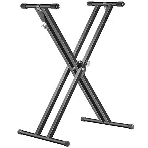 Neewer Supporto per Tastiera Nero Pieghevole in Ferro a X con Cinghie di Fissaggio e Posizioni Disco Frizione per Facile Regolazione dell'Altezza e Larghezza