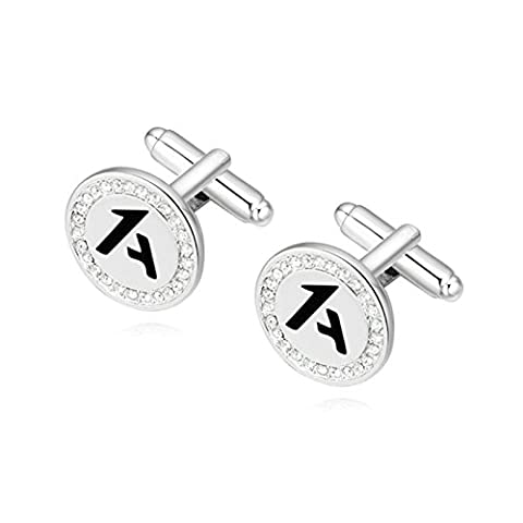AMDXD Jewelry Gold Plated Cufflinks for Men Round Cubic Zirconia Letter