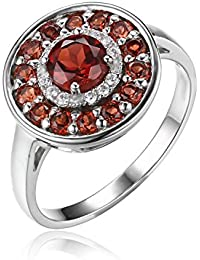 JewelryPalace 1.2ct Rot Echt Granat Cocktail Ring 925 Sterling Silber