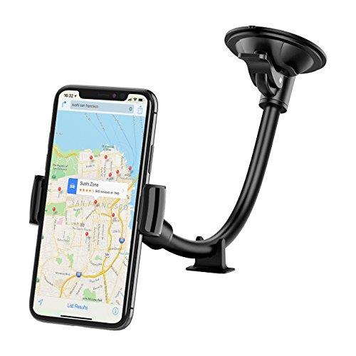 Mpow - Supporto Auto Smartphone Universale, Lungo Braccio Parabrezza Cruscotto del Supporto Cellulare di Montaggio Auto Antiscivolo