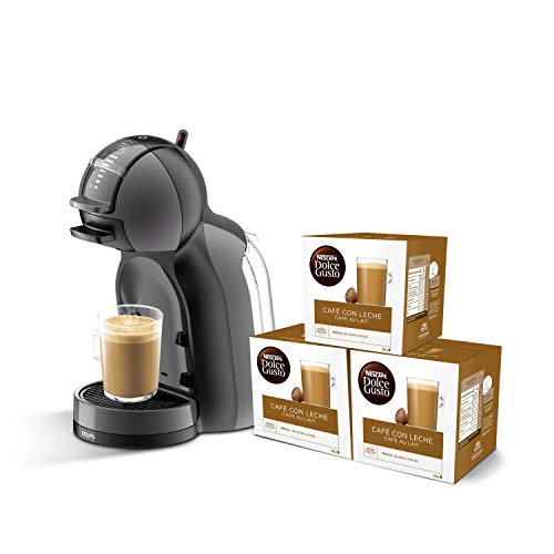 Pack Krups Dolce Gusto Mini Me KP1208 - Cafetera de cápsulas, 15 bares de presión, color negro y gris + 3 packs de café Dolce Gusto Con Leche