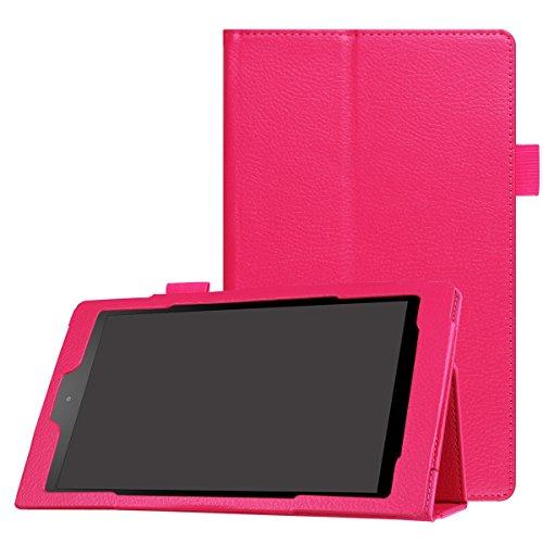 All-New Amazon Fire HD 8 (6th Generation - 2016 release) Hülle, CaseFirst Ultra dünn Tablet Lederhülle Flip Cover PU Tablet Leather Case Protector Folio Tablet Schutzhülle (Hot Pink) Pink Folio
