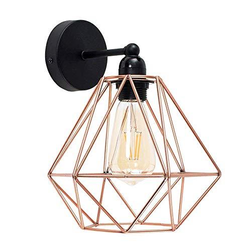 Vintage Metall Draht Käfig Lampenschirm Wandlampe Deckleuchte - Modern Industrielle DIY Zubehör Schatten Lampe Stehlampe Wandleuchte Hängeleuchten Pendelleuchten für Küchen Schlafzimmer,Kupfer -