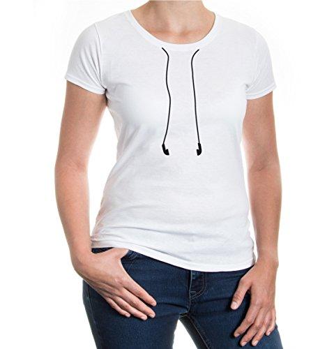 buXsbaum® Girlie T-Shirt Kopfhörer V2 White-Black