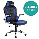 GTFORCE BLAZE RECLINING LEATHER SPORTS RACING OFFICE DESK CHAIR GAMING COMPUTER (Blue)