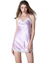 cee7ac4dde2d NEIYI Logeliy Pigiama da Donna Sleepwear in Raso di Seta Sexy Camicia da  Notte con Scollo a V Notte Indumenti da Notte Senza Maniche…