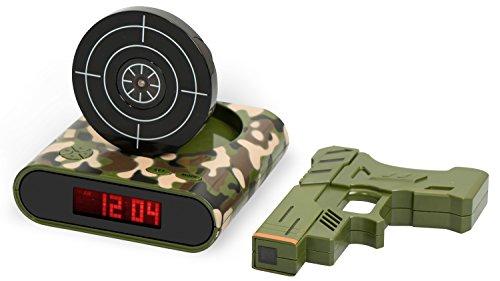 Digitalwecker mit Pistole und Zielscheibe - Tarnfarbe 'Shooter' Design - Gadget Wecker inkl. Alarm...