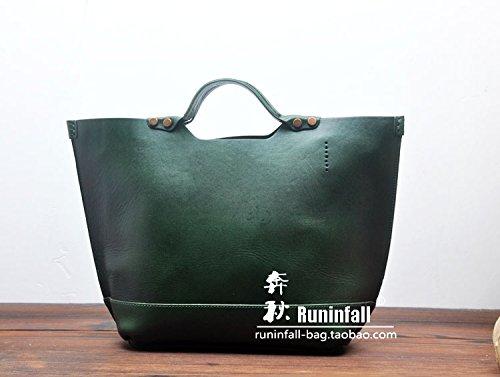 Sacs à main sacs en cuir simple hommes en cuir sac à bandoulière pour ordinateur portable Joker bag Panier,Green Green