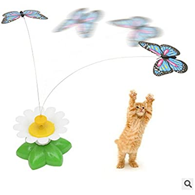 VENMO Kitten Cat Electric Rotating Seat Butterfly Interactive Toys Cat Tease Funny Toy AAA Batteries Required (Color random, without Batteries)